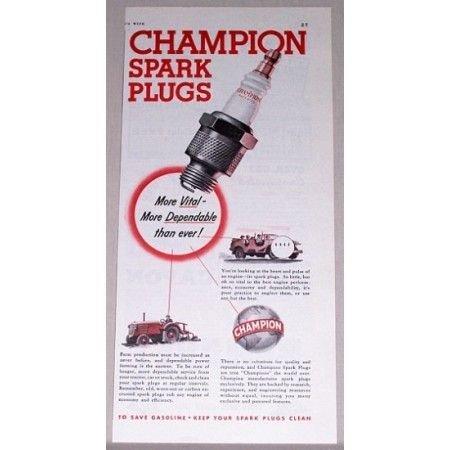 1942 Champion Spark Plugs Vintage Color Print Ad
