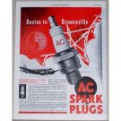 1945 AC Spark Plugs Eastern Airlines Jet Plane Vintage Color Print Ad