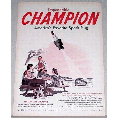 1948 Champion Spark Plug Vintage Color Print Ad - Follow The Experts