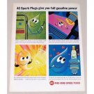 1963 AC Fire Ring Spark Plugs Art Vintage Color Print Ad - Full Gas Power
