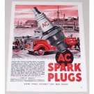 1945 AC Spark Plugs Ship Port Paulsen Art Vintage Color Print Ad