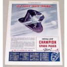 1940 Champion Spark Plugs Vintage Color Print Art Ad - Invite Trouble