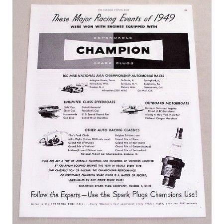 1949 Champion Spark Plugs Major Racing Events 1949 Vintage Print Ad