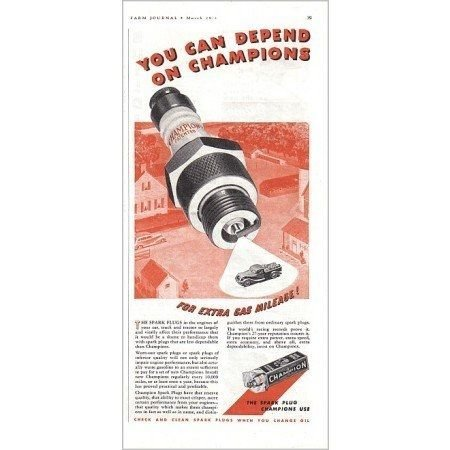 1938 Champion Spark Plugs Vintage Color Print Ad - Extra Gas Mileage