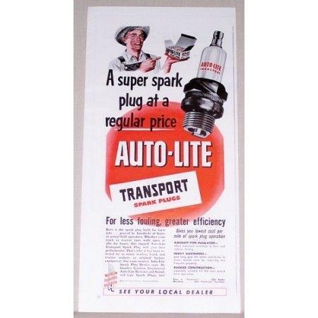 1951 Auto-Lite Transport Spark Plugs Vintage Color Print Ad