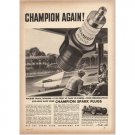 1940 Champion Spark Plugs Indy 500 Mile Race Wilbur Shaw Vintage Print Ad