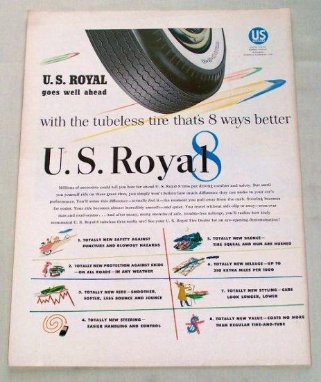 1955 U.S Royal 8 Eight Tubeless Tires Vintage Color Print Ad