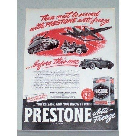 1944 Prestone Anti-Freeze Color Wartime Tank Jeep Vintage Color Print Ad