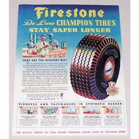 1944 Firestone Deluxe Champion Tires Vintage Color Print Ad