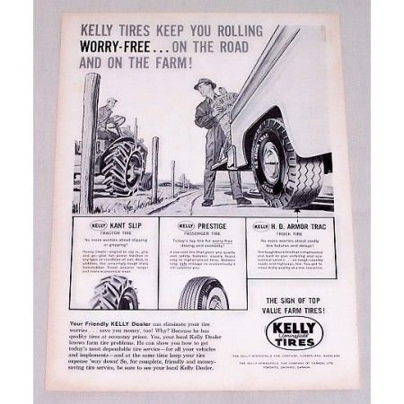 1959 Kelly Springfield Tires Vintage Print Ad - Keep You Rolling