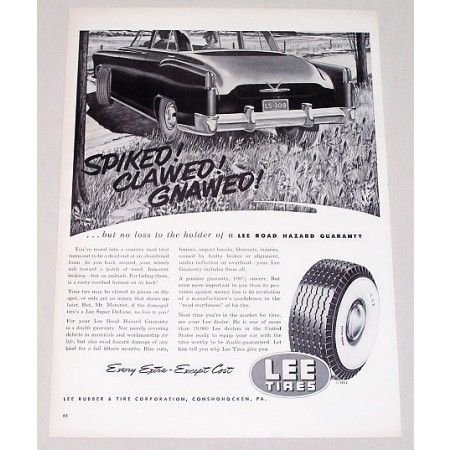 1952 Lee Super Deluxe Tires Vintage Print Ad - Spiked Clawed Gnawed
