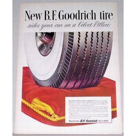 1948 B.F. Goodrich Silvertown Tire Vintage Color Print Ad - Velvet Pillow