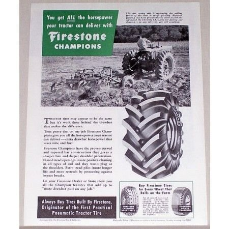 1954 Firestone Champions Farm Tractor Tires Vintage Print Ad
