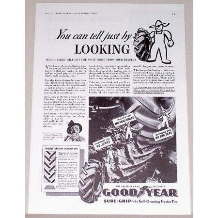 1941 Good Year Sure-Grip Tractor Tires Vintage Print Ad