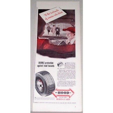 1948 Hood 400 Passenger Tires Vintage Color Print Ad
