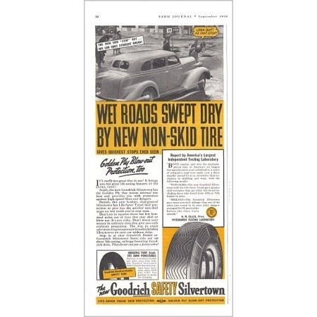 1938 Goodrich Silvertown Tires Vintage Print Ad - Wet Roads Swept Dry