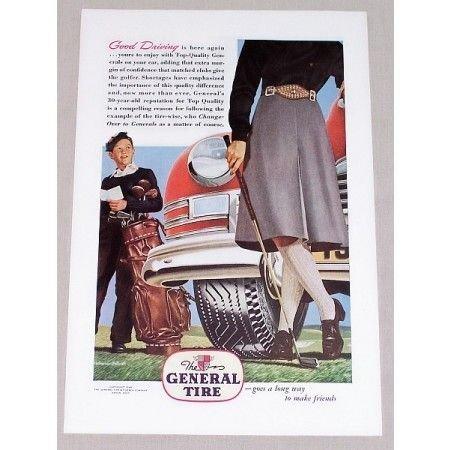 1946 The General Tire Brindle Art Vintage Color Print Golf Art Ad