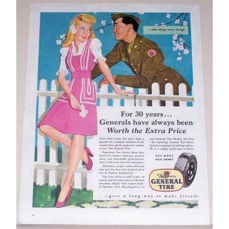1944 General Tire Color Military Wartime Art Vintage Color Print Ad