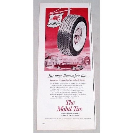 1956 Mobil Super Deluxe Tires Vintage Color Print Ad