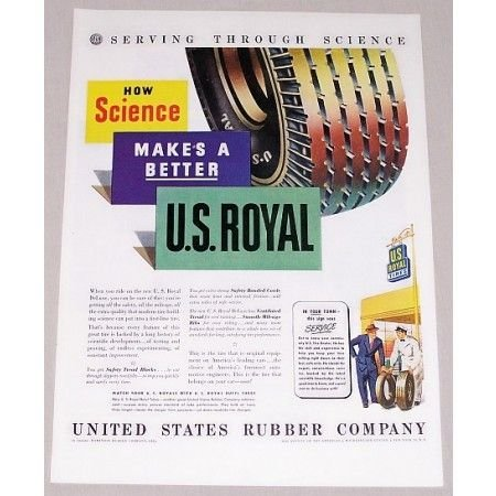 1946 U.S. Royal Tires Vintage Color Print Ad - Serving Through Science