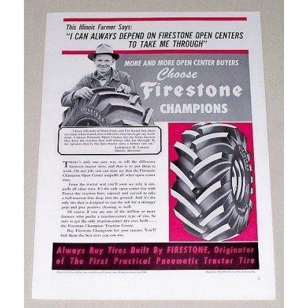 1952 Firestone Champion Tractor Tires Vintage Print Ad
