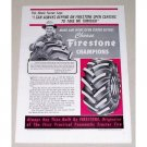 1952 Firestone Champion Tractor Tires Vintage Print Ad