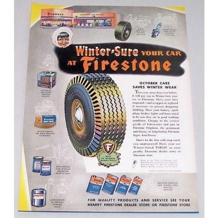 1944 Firestone Champion Deluxe Tires Vintage Color Print Ad
