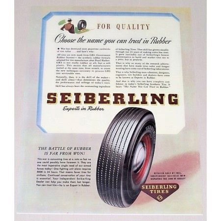 1945 Seiberling Tires Vintage Color Print Ad - Experts In Rubber