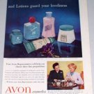 1954 Avon Cosmetics Creams Lotions 2 Page Vintage Color Print Ad