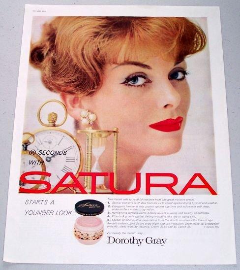 1958 Dorothy Gray Satura Moisture Cream Vintage Color Print Ad