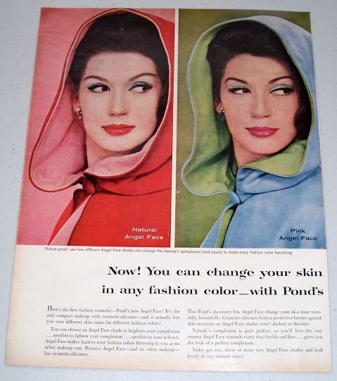 1960 Ponds Angel Face Cosmetic Make Up 2 Page Vintage Color Print Ad