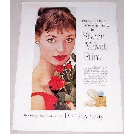 1957 Dorothy Gray Sheer Velvet Film Foundation Vintage Color Print Ad