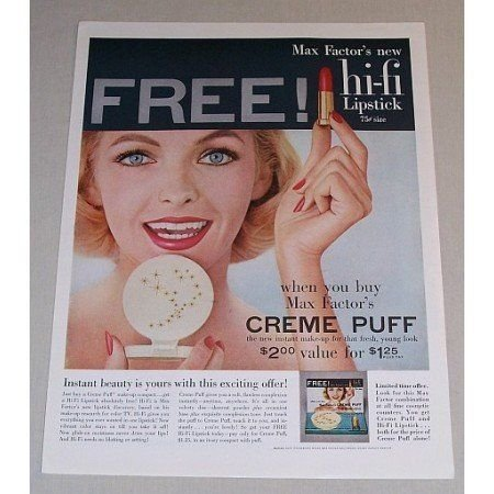 1957 Max Factor Creme Puff Instant Make-Up Vintage Color Print Ad