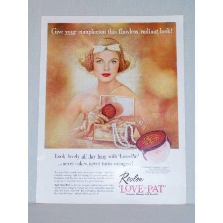 1957 Revlon Love-Pat Compact Makeup Vintage Color Print Ad