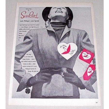 1946 Louis Philippe Sun Bird Lipstick Vintage Print Ad