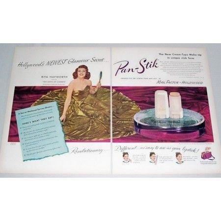 1948 Max Factor Makeup Vintage 2 Page Color Print Ad Celebrity Rita Hayworth