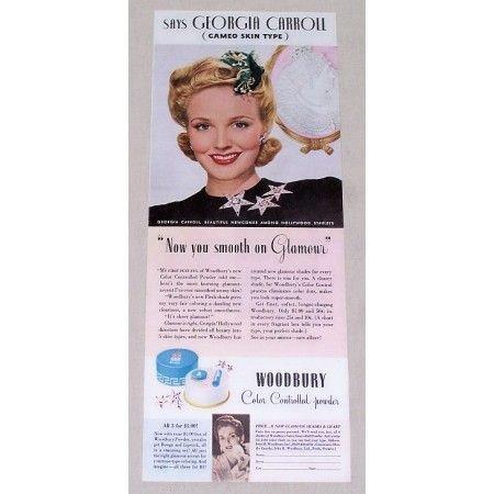 1942 Woodbury Powder Vintage Color Print Ad Celebrity Georgia Carroll