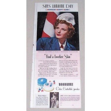 1942 Woodbury Powder Vintage Color Print Ad Celebrity Laraine Day