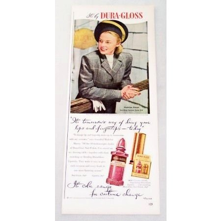 1947 Dura-Gloss Lipstick Vintage Color Print Ad Celebrity Madelon Mason
