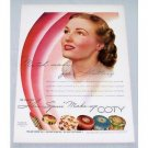 1940 COTY Air-Spun Make Up Color Print Ad - Match Made