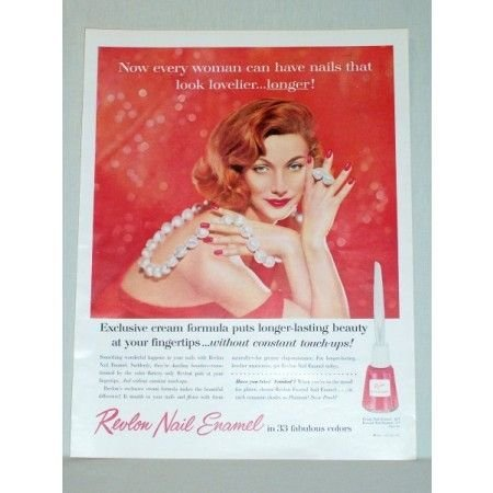 1957 Revlon Nail Enamel Color Print Ad - Woman In Pearls