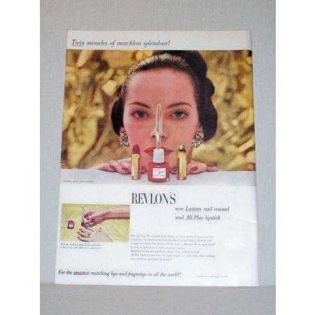 1948 Revlon's Lastron Nail Enamel All Plus Lipstick Color Print Ad