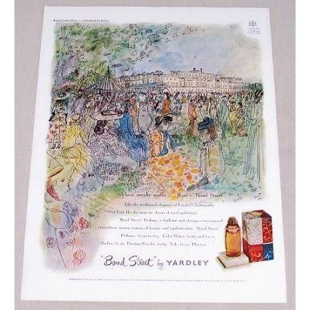 1949 Bond Street Yardley Perfume Buckingham Palace Color Print Art Ad