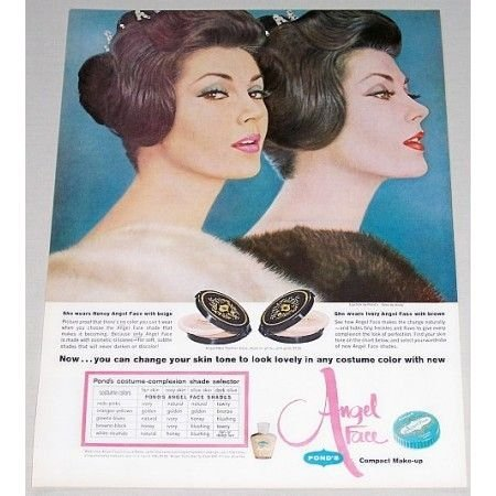 1961 Pond's Angel Face Compact Make Up Color Print Ad