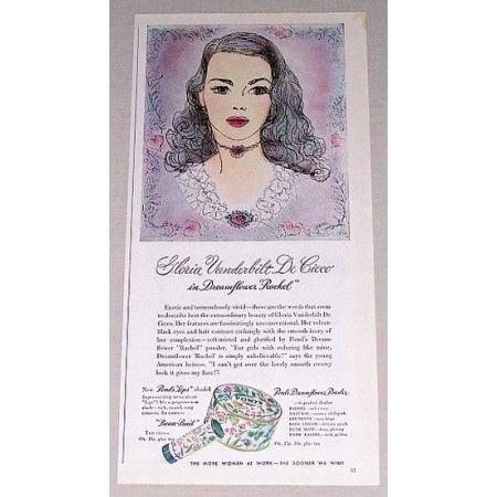 1944 Pond's Dreamflower Powder Color Print Art Ad