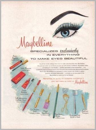 1960 Maybelline Make Up Cosmetics Vintage Art Color Print Ad