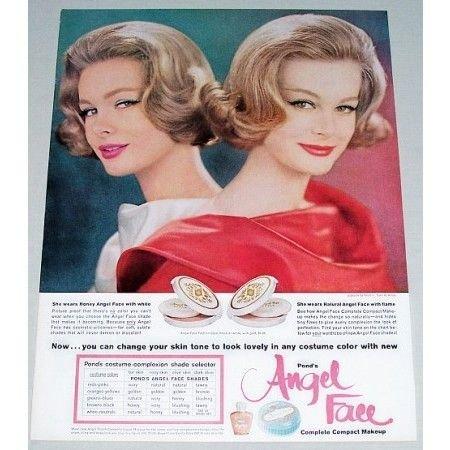 1961 Ponds Angel Face Fashion Case Compact Make Up Vintage Color Print Ad
