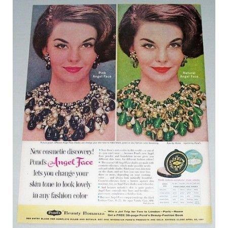1961 Ponds Angel Face Compact Make Up Vintage Color Print Ad