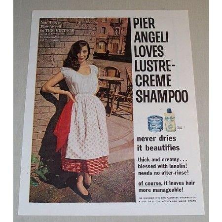 1957 Lustre-Creme Shampoo Vintage Color Print Ad Celebrity Pier Angeli