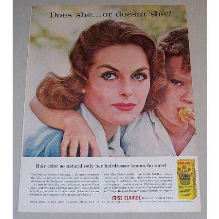 1958 Miss Clairol Hair Color Bath Vintage Color Print Ad
